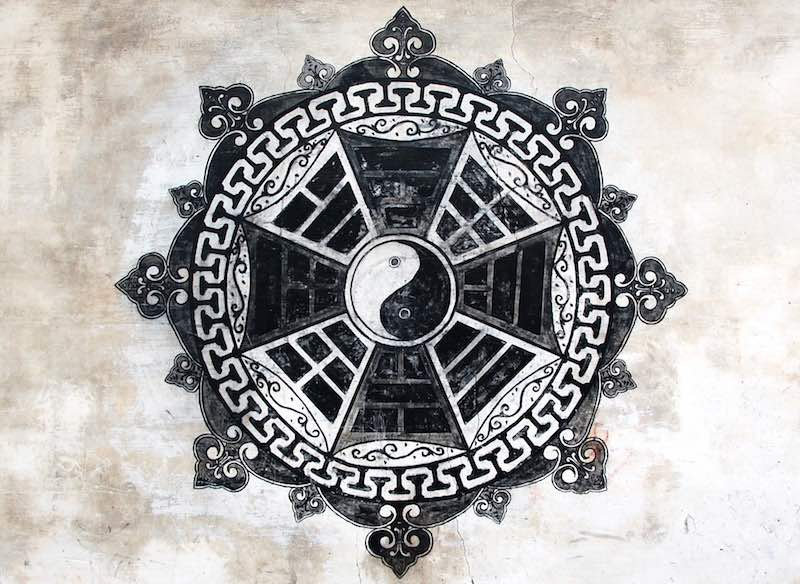 中国浙江省金华市兰溪诸葛八卦村-Eight Diagrams (Bagua) symbol, Zhuge Bagua village, Lanxi, Jinhua, Zhejiang, China